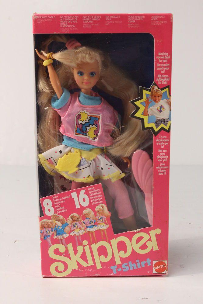 NRFB Rare 1989 Skipper T-Shirt Barbie Little Sister Doll from Mattel 8 80s Looks