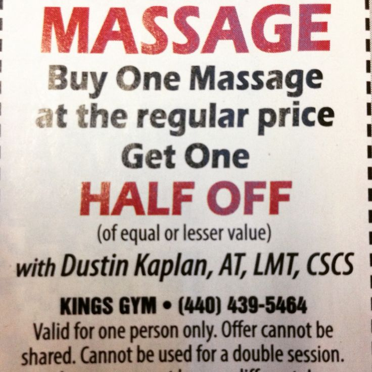 Promotion: Buy one Massage at the regular price, Get one HALF OFF!