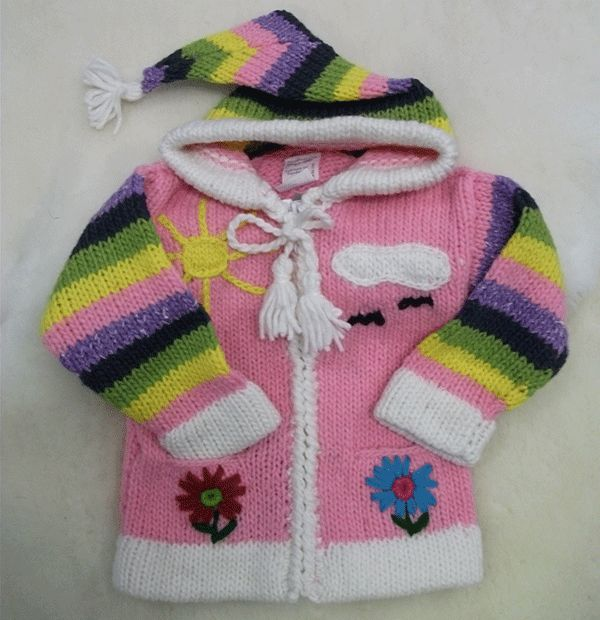 Hand knitchild's sweaters with hood, madewith colourfulyarn…