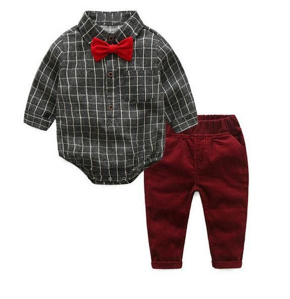 Toddler Baby Kid Boy Gentleman Formal Tops T-Shirt+Plaid Trousers Pants Outfit L