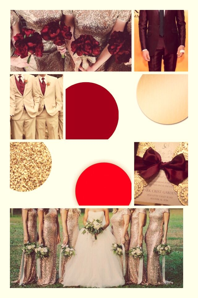 Red, maroon, cream, and gold (sequins added) Possible wedding colors.