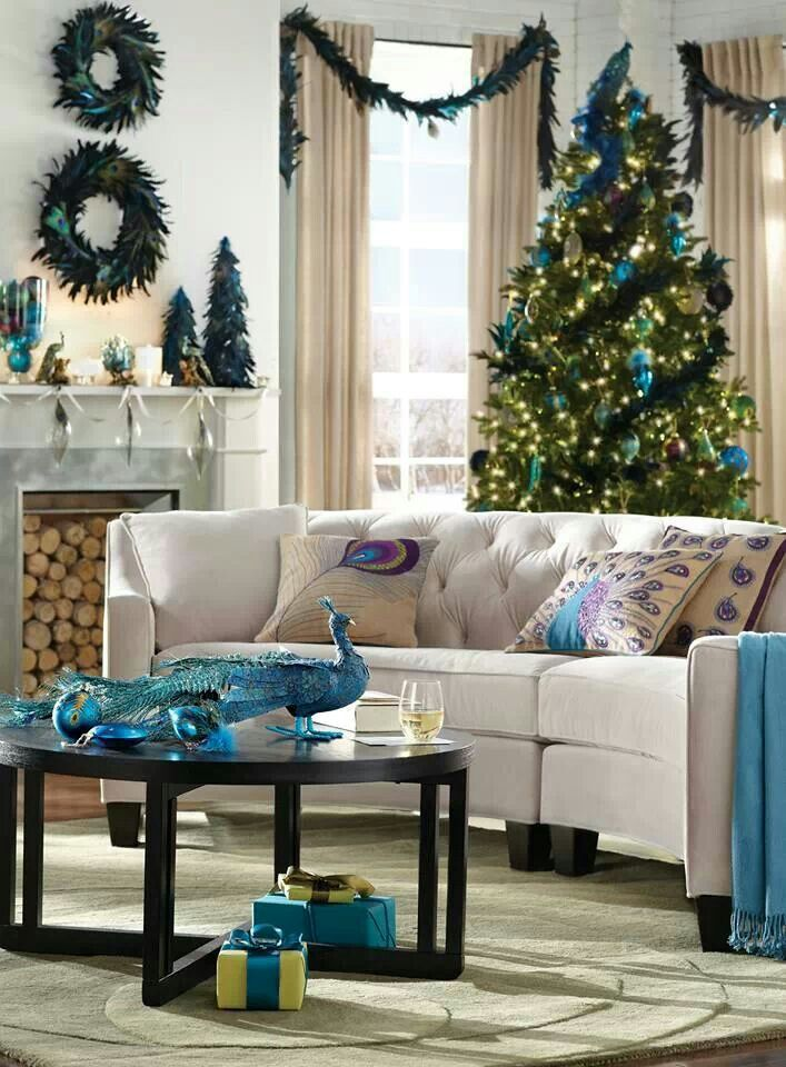 276 best images about teal turquoise aqua christmas for Peacock themed living room ideas