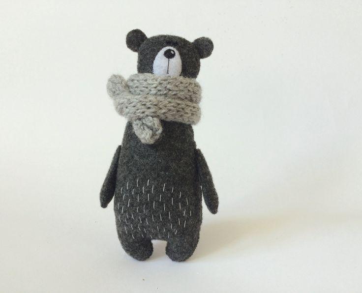 Войлок Серый медведь в Вязаный шарф плюшевого медвежонка войлочная по Амуру