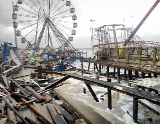 Seaside Height amusement park is in ruins after Hurricane Sandy made landfall, Seaside Heights,