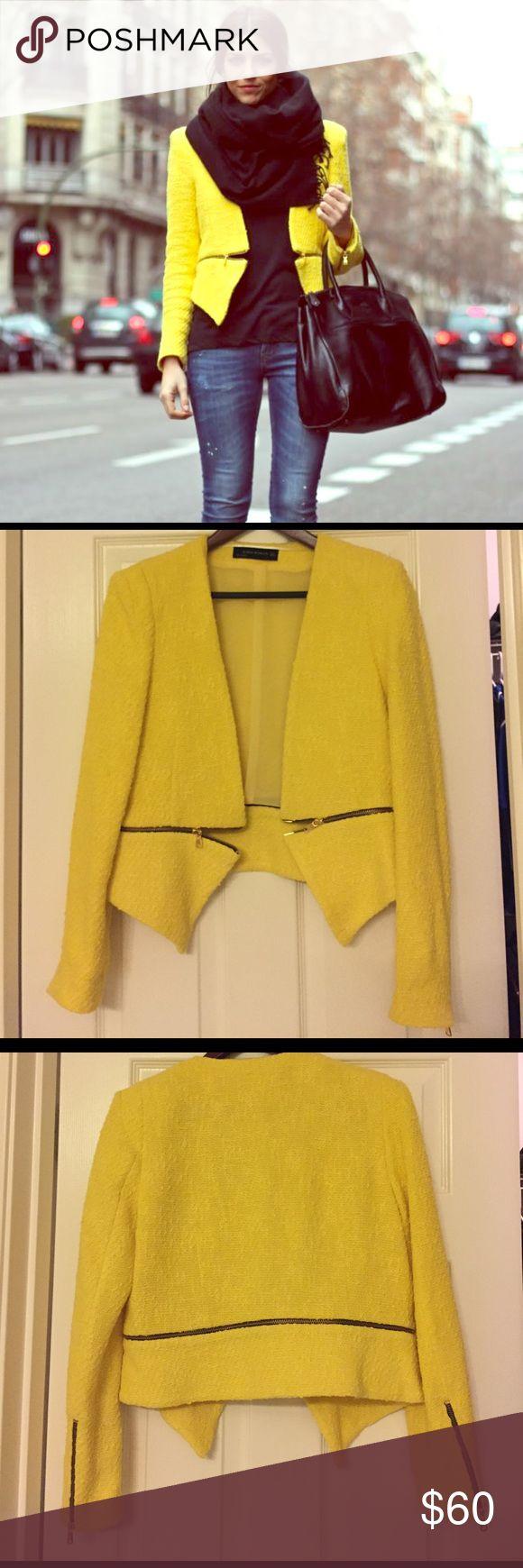 ⭐️ EUC Zara Yellow Zipper Blazer ⭐️ Zara Zipper Women Blazer. Amazing zipper details on the sleeves and around the waist line. Worn a handful of times in perfect condition. This item is definitely an outfit maker. Zara Jackets & Coats Blazers