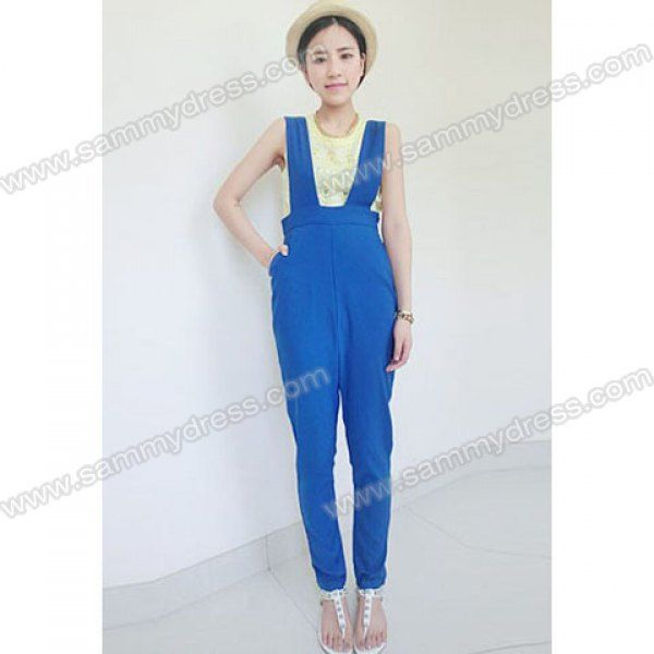 """Um...""""slimming""""?? Simple design could work for O-Ls, esp. if cut to come just below the knee (will truncate a bit) Original caption: Street Fashion Solid Color Slimming Cheap Overalls For Women (BLUE,ONE SIZE) 