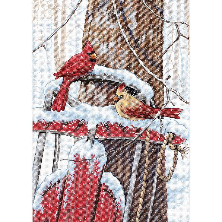 """Cardinals On Sled Counted Cross Stitch Kit-10""""X14"""", Multi"""