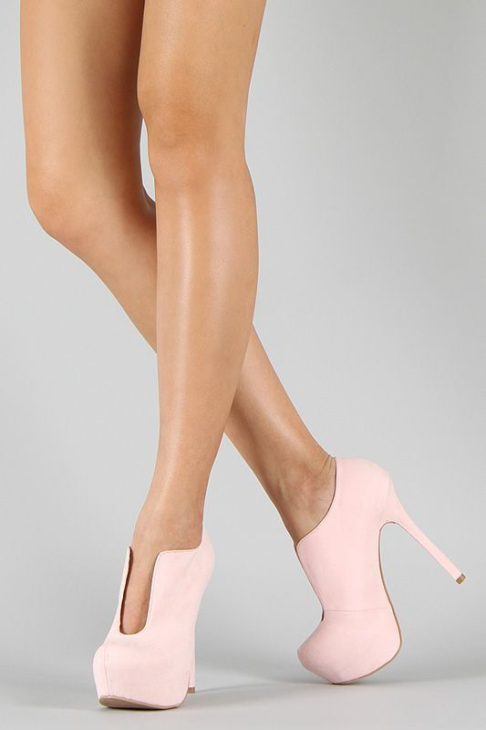 Pink platform ankle booties. Faux suede with deep scoop front cutouts. Don't go out in the rain with these beauties. Love, love, love!