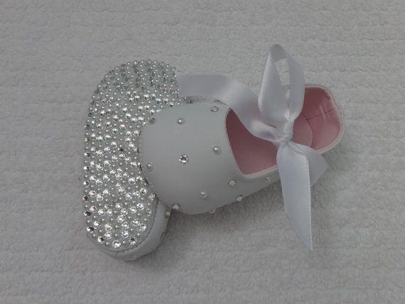 DiAMONDS and PEARLS Swarovski Crystal Rhinestone Baby Bling Shoes baptism/christening