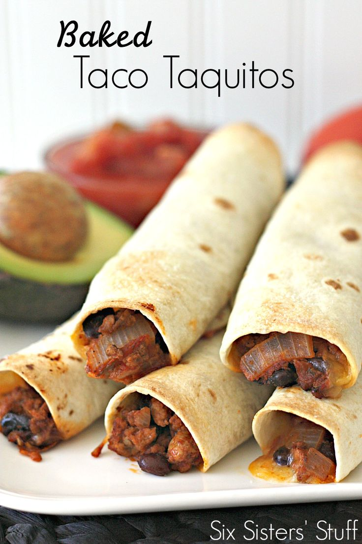 Baked Taco Taquitos on SixSistersStuff.com - yummy tacos all rolled up ...