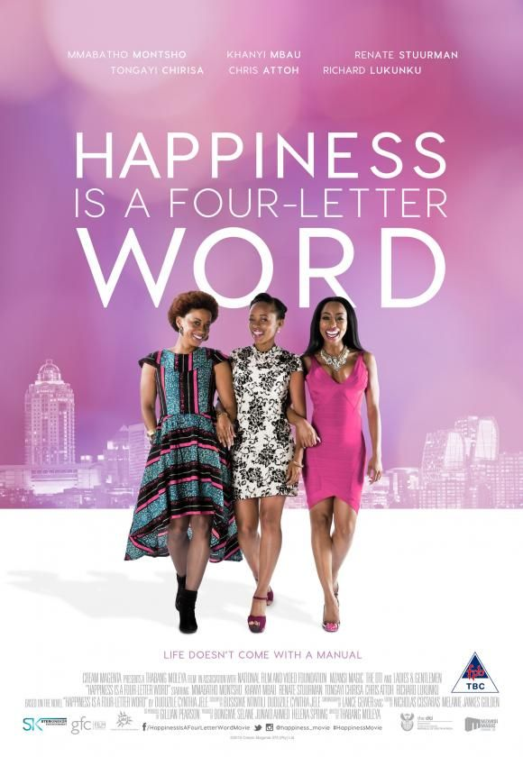 This rom-com tells the story of three friends trying to find their happiness while maintaining images of success, empowerment and acceptability.  The plot centers around perfectionist lawyer Nandi, housewife Zaza and art gallery owner Princess. #vibescout #southafricanmovies #happinessisafourletterword