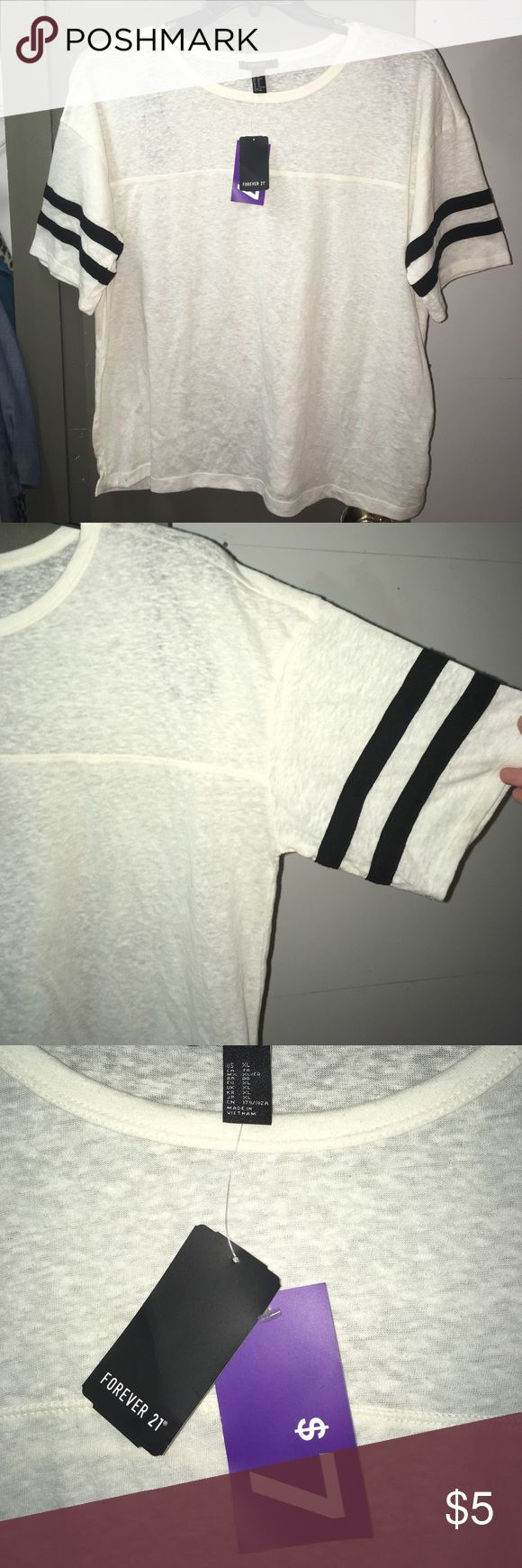 Forever 21 Retro white and black ringer tee. Summer staple vintage-style Forever 21 cream tee with black sleeve stripes. NWT size XL. Forever 21 Tops Tees - Short Sleeve
