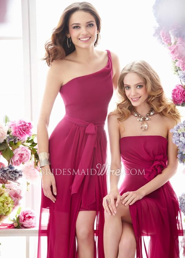 azelea chiffon one-shoulder bridesmaid dress with removable wrap over skirt