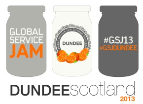 I was part of the interdisciplinary team organising the 2013 Global Service Jam in Dundee. GSJ is a global event where teams all around the world design a brand new service based on a shared theme in only 48 hours. More info: http://dundeeservicejam.wordpress.com/
