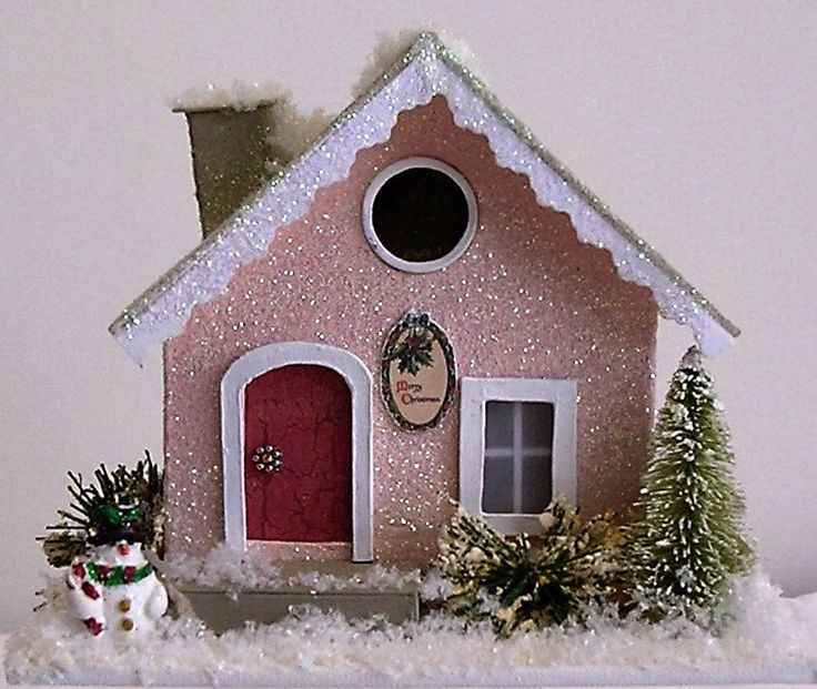 Lighted winter putz home by Greatminis on Etsy https://www.etsy.com/listing/285409635/lighted-winter-putz-home