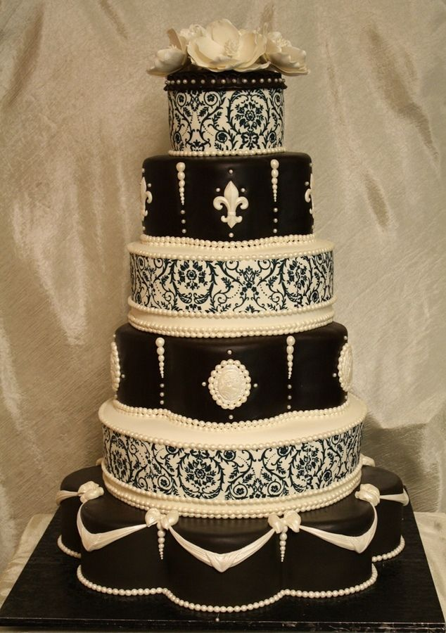 Black And White , Scrolls And Cameo Wedding Cake.#medieval Wedding Cake