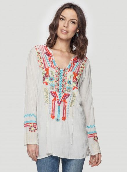Johnny Was Biya Darlene Blouse #travel #style #cotton #top #colorful #embroidery #boho #chic #casual