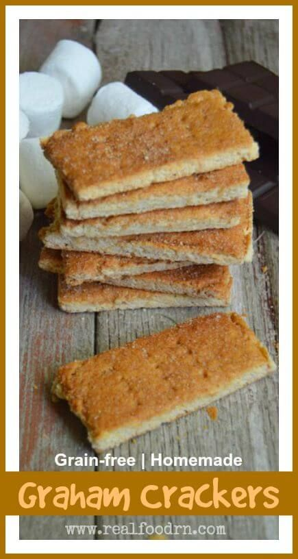 Grain-free Homemade Graham Crackers. We love camping, and making s'mores. Now we can enjoy the tradition of making s'mores at night, without the gluten and added sugar from regular graham crackers! These are also just a great snack, and so easy for lunch boxes too! realfoodrn.com #grahamcrackers #grainfree
