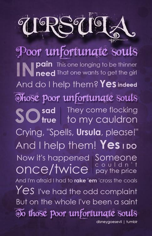 Poor Unfortunate Souls . . . One of my favorite Villains