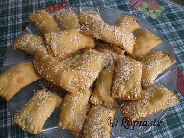 Eliopitakia, with hand made phyllo and filled with olives and herbs.  http://kopiaste.org/2008/03/eliopitakia-cypriot-olive-pies/  In Greek:  http://www.kopiaste.info/?p=144