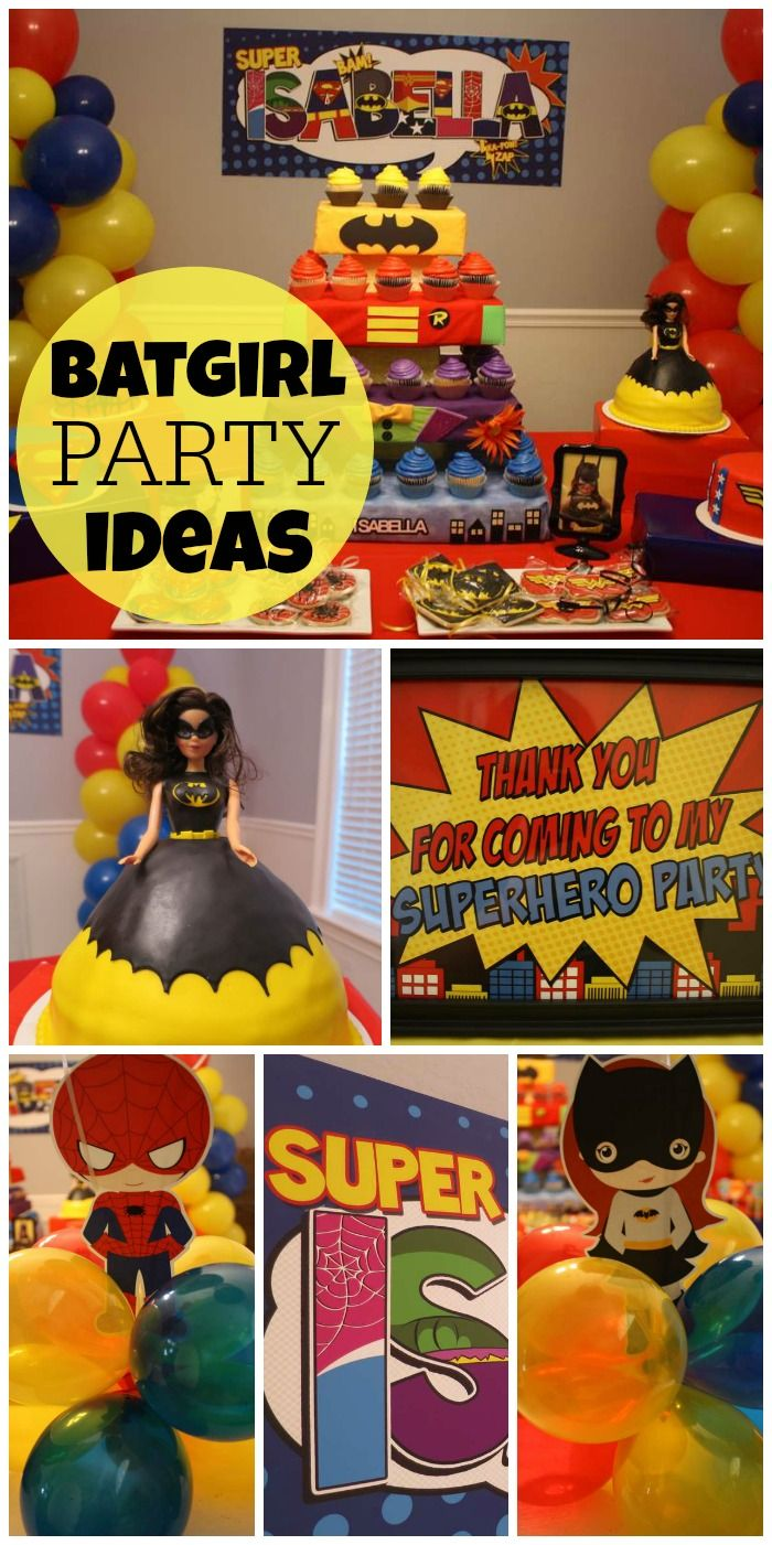 A Batgirl and Friends Superhero girl birthday party with Kryptonite Punch, Joker Juice and capes! See more party planning ideas at CatchMyParty.com!