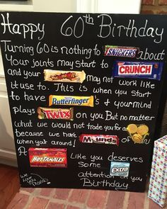 Old age Over the hill 60th birthday card poster using candy bars.  Candy bar…