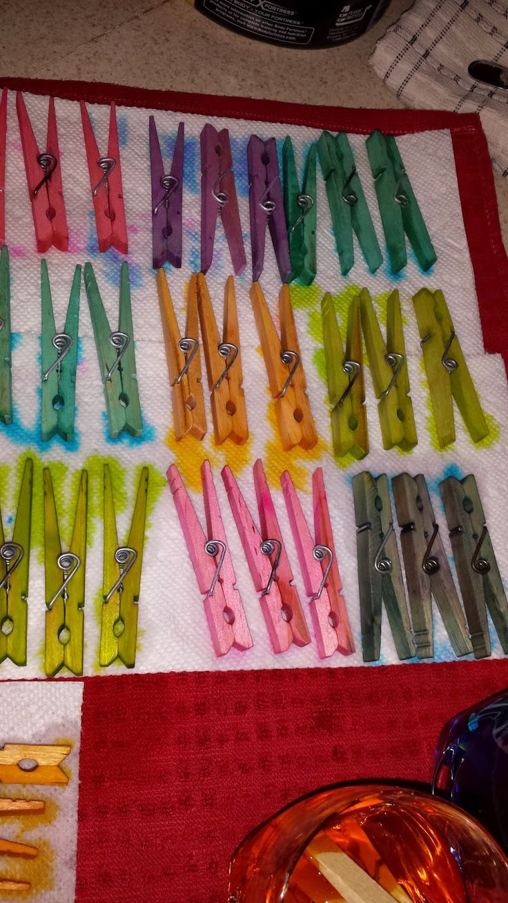 Use Egg Coloring Dye to dye your clothes' pins!