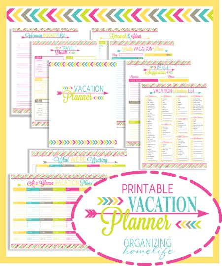 Printables to organize vacation.  Wow someone who thinks like I do,  just more creative.  Love this