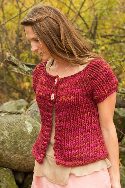 The Road To Gimmerton by Melissa Schaschwary is knit with US 19 needles