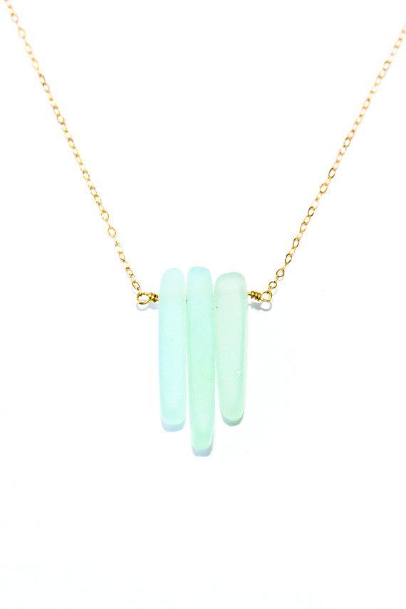 Sea glass necklace seaglass necklace delicate gold by SeaAndCake