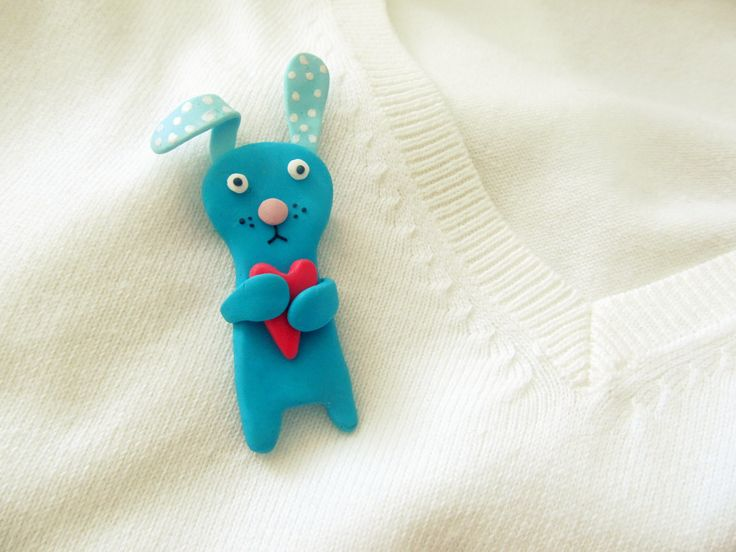 Cute clay bunny brooch