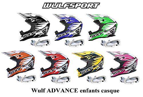 Casque moto enfant WULF ADVANCE ENFANTS CASQUE Moto Quad MX VTT Sports hors route ECE ACU approuvé Casque + X1 Lunettes blanc (rose, M):…
