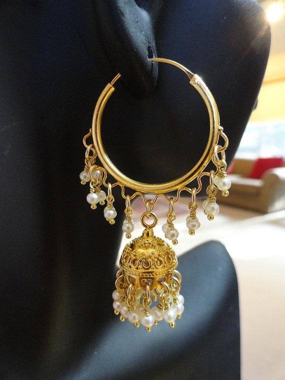 Jaipur Jhumkas Hoop Jhumkas with Fresh water pearls by jhumkas, $159.00