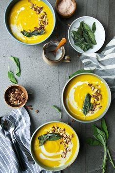 Butternut Squash, Coconut & Turmeric Soup + Crispy Sage - The Green Life