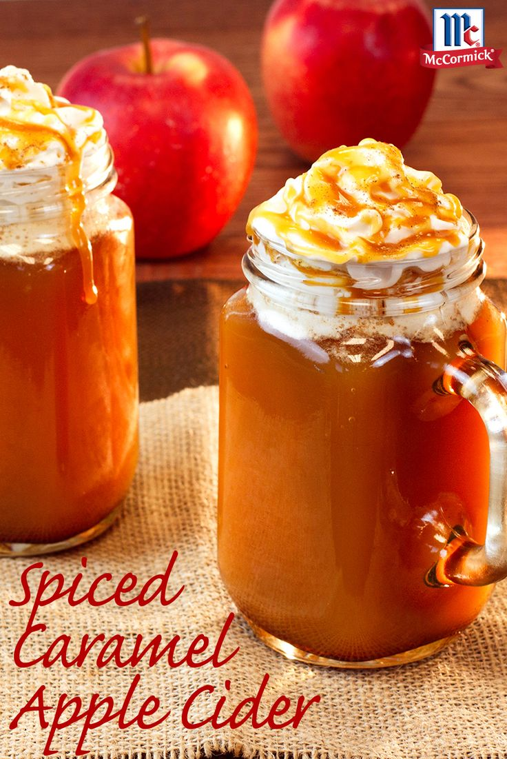 Recreate a class fall drink without ever leaving your home. Apple Pie Spice brings comforting warmth to this apple cider recipe with caramel and vanilla. Garnish with whipped cream, extra caramel topping and apple pie spice for the perfect fall treat.