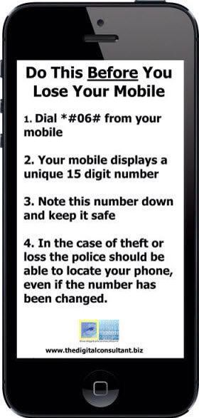 Some phones don't have the same dial commands so ... It's called the IMEI (older phones might have a MEID) and it will be in your phones settings as well. The police can identify your phone by this number; I doubt they can use it to track it.