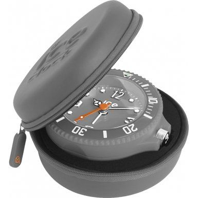 Ice-Clock 90 mm Travel Alarm Clock, Silver