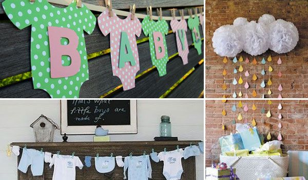 22 cute low cost diy decorating ideas for baby shower for Baby clothesline decoration baby shower