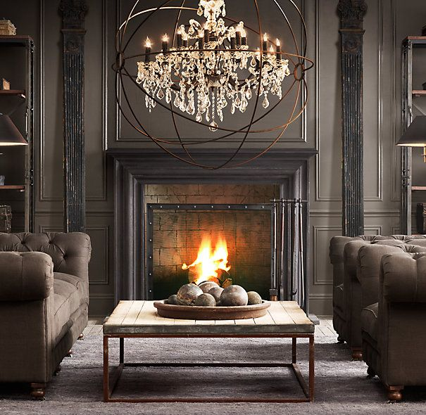Gorgeous Deep Rich colors in this Living Room. Fireplace is warm & inviting. Furnishings from Restoration Hardware.