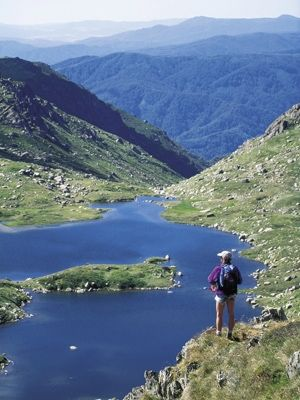 Hiker stands in front of glacial Lake Albina, Kosciuoszko National Park, in the Snowy Mountains NSW Australia The Australian Alps National Park is a conglomerate of parks and nature reserves covering 1.6 million hectares in the ACT, NSW and Victoria.