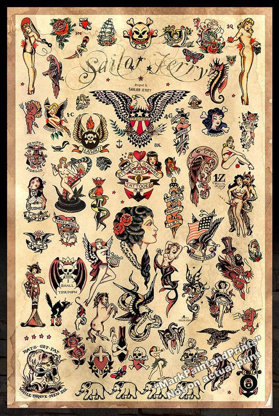 Sailor Jerry Tattoo Flash 3 Poster Print by MarkPaintAndPrints: