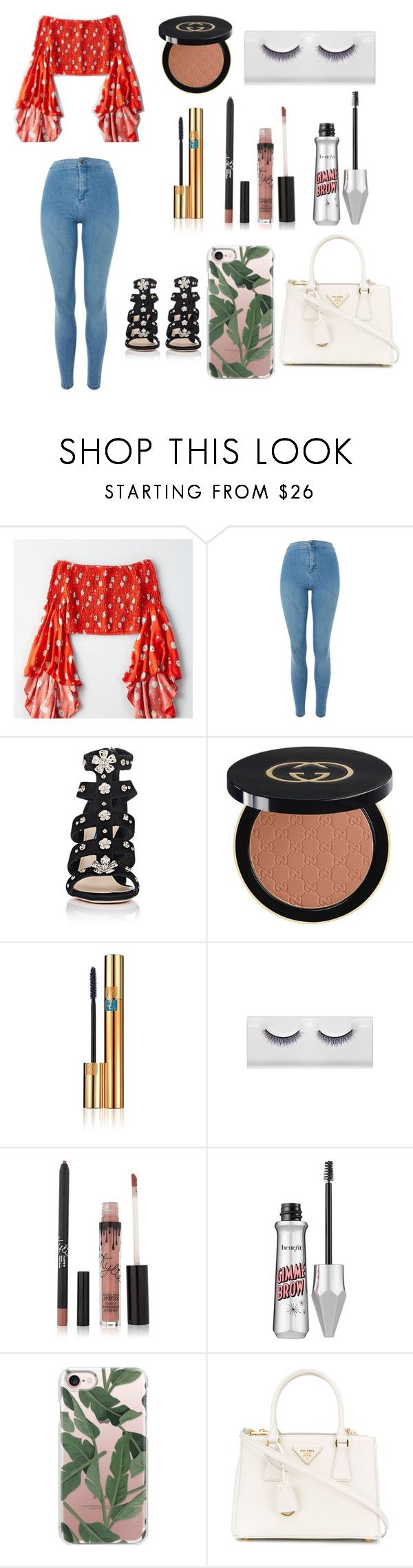 """""""Tropical Goddess"""" by indiac-joseph on Polyvore featuring American Eagle Outfitters, Topshop, Prada, Gucci, Yves Saint Laurent, Benefit and Casetify"""
