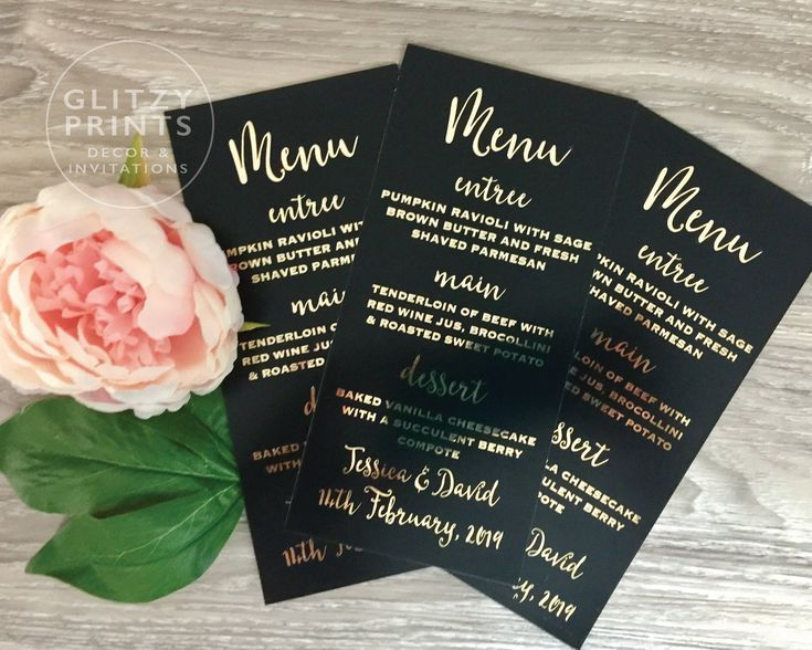 Wedding Menu Cards in Real Gold Foil, Black & Gold Invitations, Personalised Gold Foil Wedding Menu Cards,  Wedding Prints by GlitzyPrints on Etsy  A glamorous touch to your wedding or next special event. Gorgeous gold foil menus!