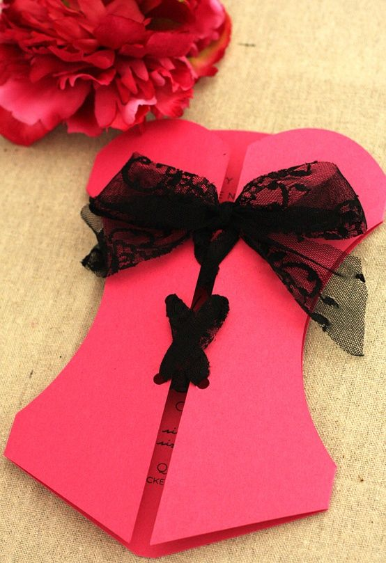 Bachelorette party invites ...soooo cute! Honestly if we can make a template for this, we could make these ourselves! Construction paper, lace, typed on paper and pasted inside!