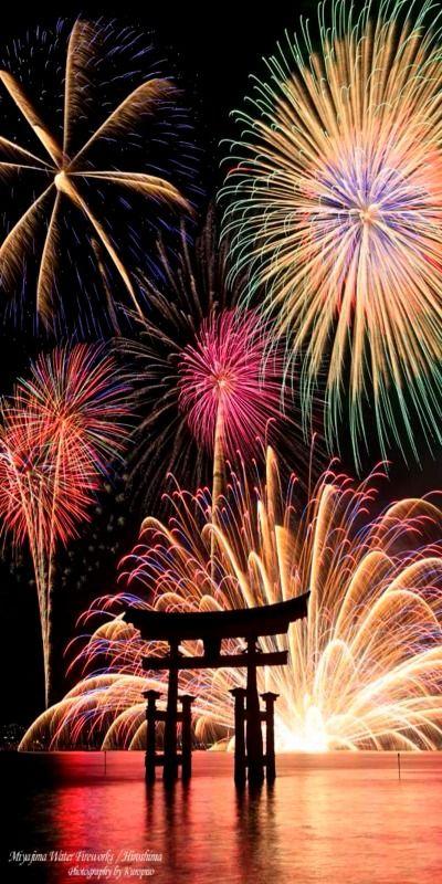 Itsukushima Shrine & fireworks, Japan
