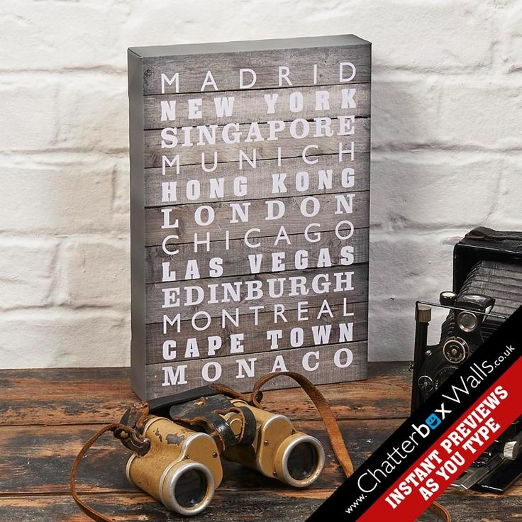 Personalised special places destination canvas print with aged wood background