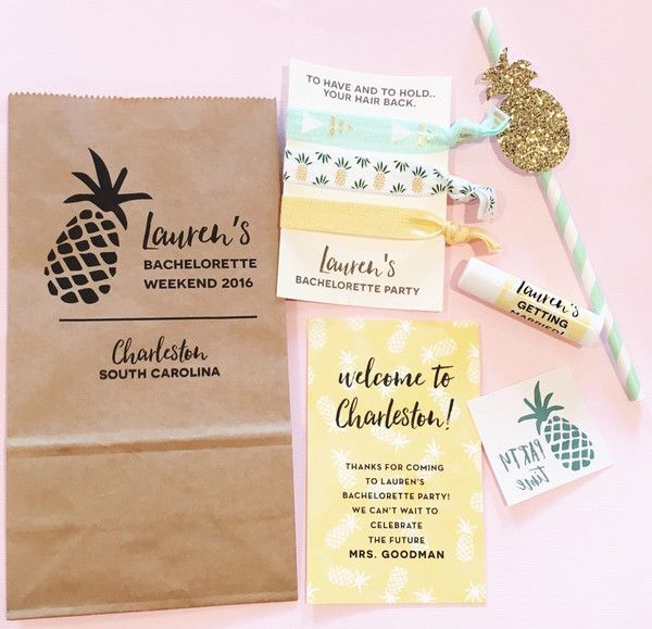 pineapple bachelorette party favor packs // custom