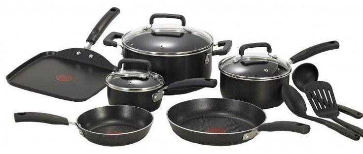 Non-Stick Kitchen Cookware Set Pots Pans Tfal 12-Piece Black Chef Cook #Tfal