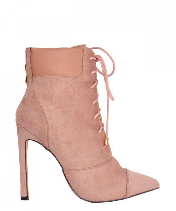 Γυναικεία μυτερά μποτάκια ροζ με τακούνι και κορδόνια B7655R #torouxo #γυναικειαπαπουτσια