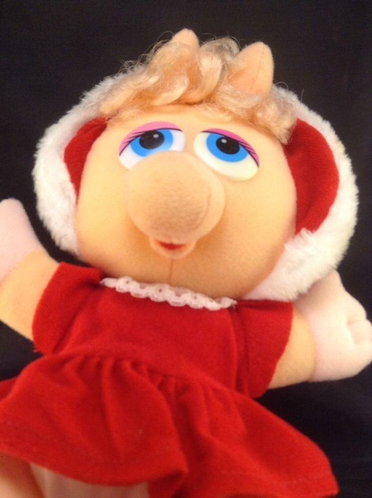 "Miss Piggy Plush 11"" 1987 Henson Red Dress Vtg Muppets Stuffed Animal Pig     eBay"